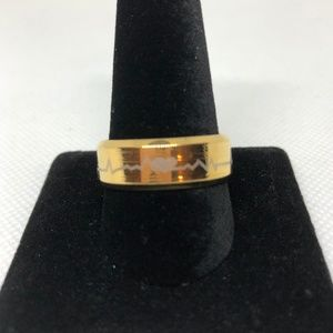 Gold Tone Stainless Steel Heartbeat Ring